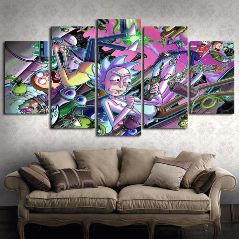 Falling Rick And Morty Canvas Wall Art