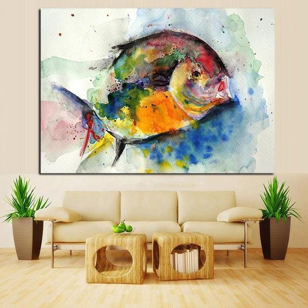 Watercolor Ocean Fish feng shui Painting
