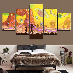 Rick and Morty Yellow Universe Canvas Wall Art
