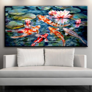 Chinese Koi and Lotus Wall Art