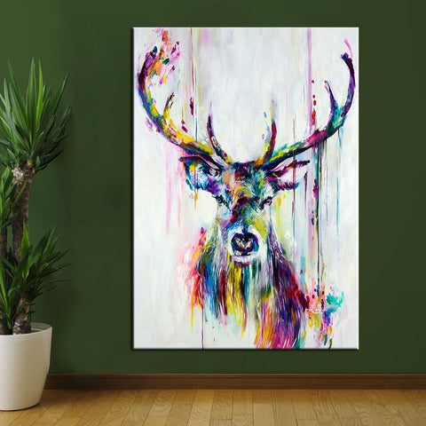Image of Colorful Deer Canvas Wall Art
