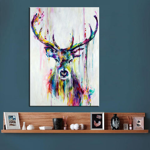 Colorful Deer Canvas Wall Art