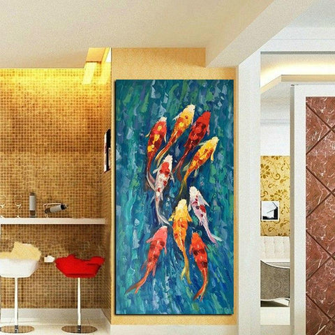 Image of Chinese Abstract Nine Koi Fish Landscape