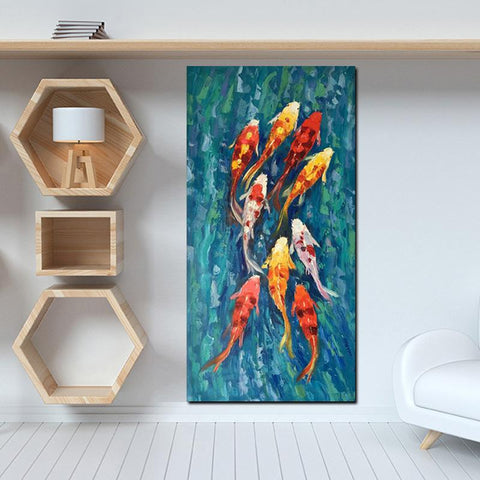 Chinese Abstract Nine Koi Fish Landscape
