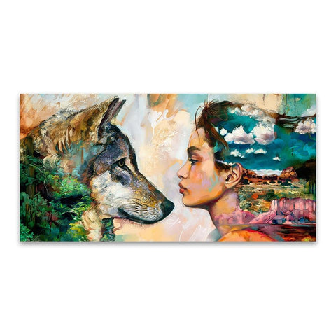 Image of Wolf and Girl Oil Painting Wall Art