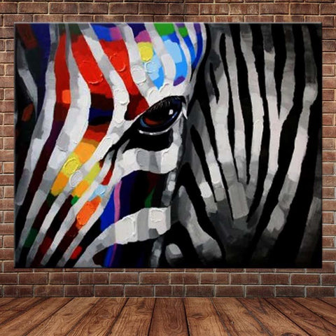Image of Hand Painted Colorful Zebra Abstract