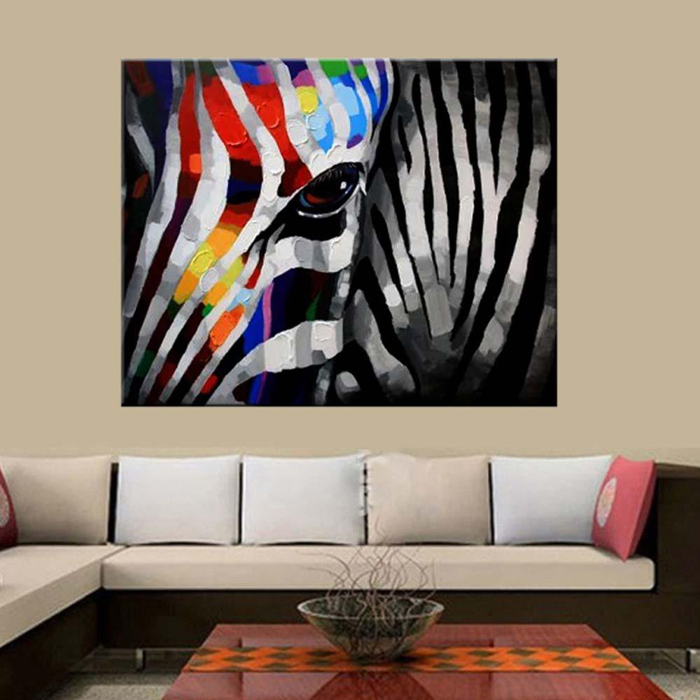 Hand Painted Colorful Zebra Abstract