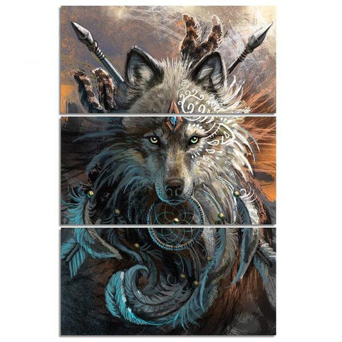 Image of 3 Piece Native American Indian Wolf Warrior Dream Catcher Wall Art