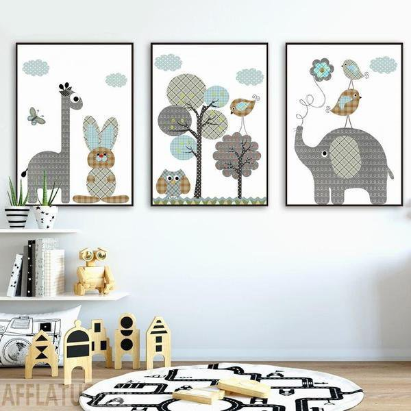 Jungle Rabbit and Giraffe Wall Decor