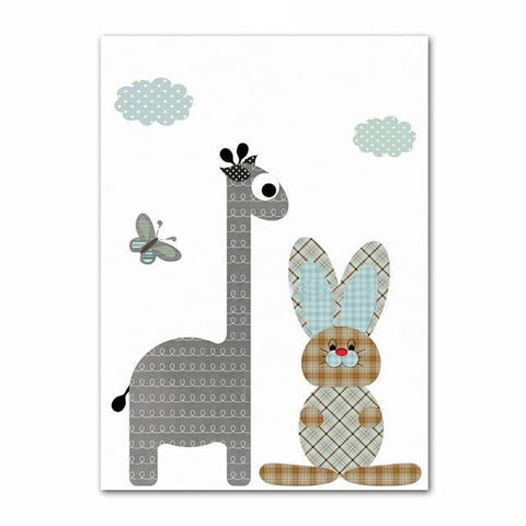 Image of Jungle Rabbit and Giraffe Wall Decor