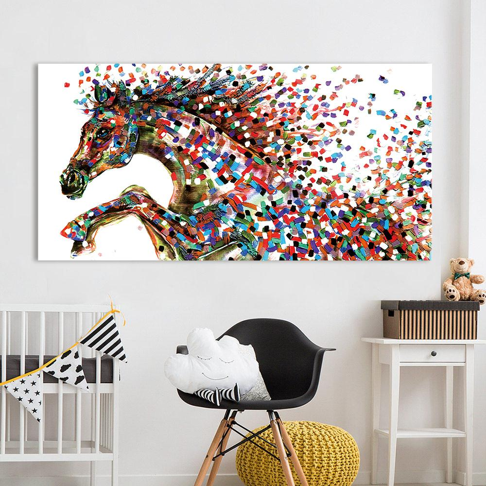 Jumping Horse Pointillism Wall Art