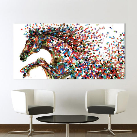 Image of Jumping Horse Pointillism Wall Art