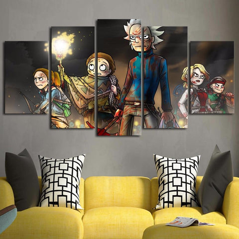 Fighting Rick and Morty Canvas Wall Art