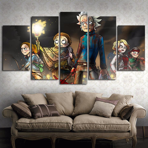 Image of Fighting Rick and Morty Canvas Wall Art