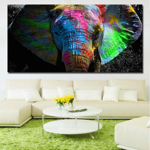 Colorful African Elephant Wall Art