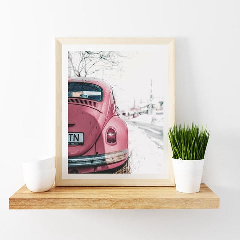 Pink Retro Car Wall Art