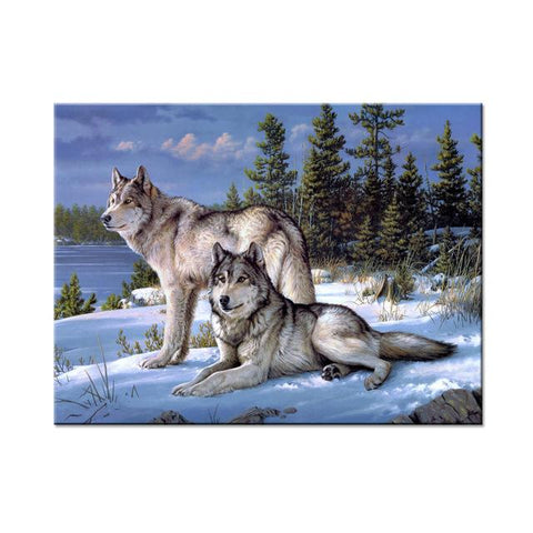Image of Two Snow Wolves Wall Art