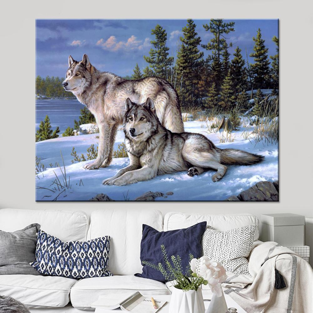 Two Snow Wolves Wall Art