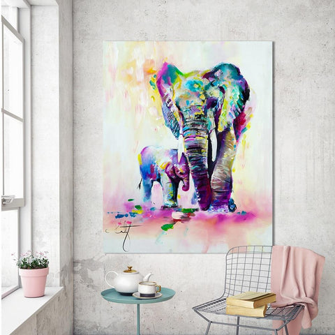 Image of Expressionism Colorful Elephant Wall Art
