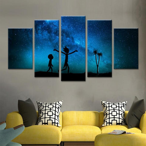 Rick And Morty Night Landscape Canvas Wall Art