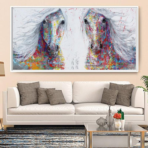 Horse Wall Art - Splash Of Colors Canvas