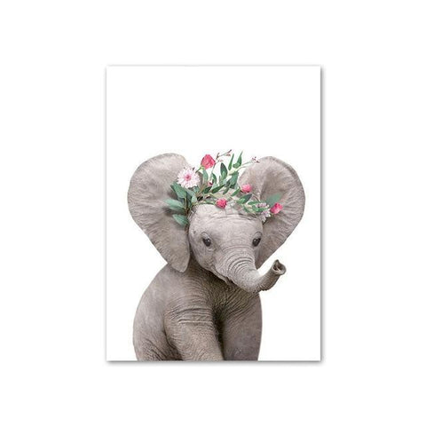 Baby Elephant with Flower Crown