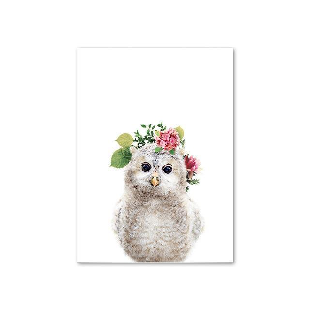 Baby Owl with Flower Crown