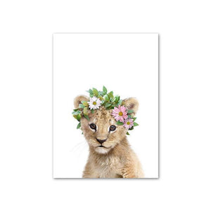 Baby Lion with Flower Crown