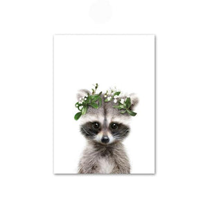 Baby Raccoon with Flower Crown