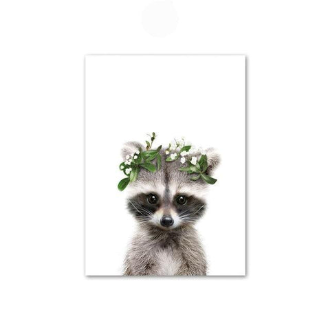 Image of Baby Raccoon with Flower Crown