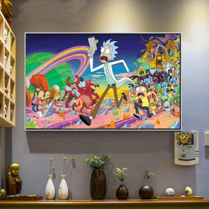 Rick And Morty Colorful Canvas Wall Art