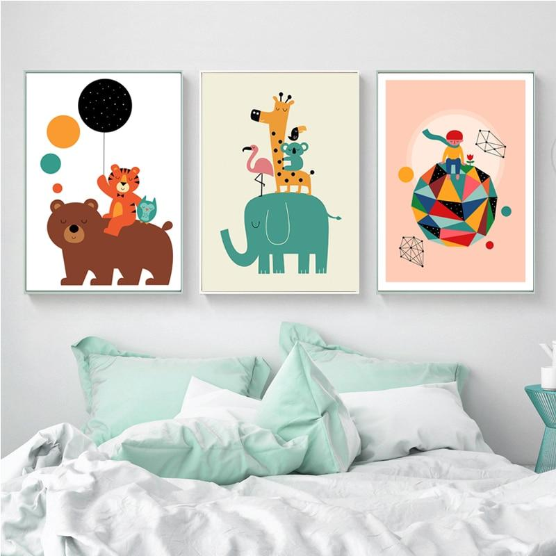 Colorful Elephant and Friends Wall Art