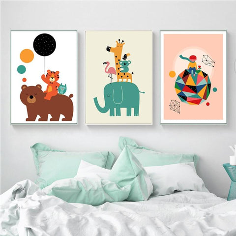 Image of Colorful Elephant and Friends Wall Art