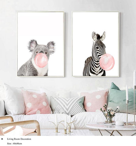 Image of Bubble Gum Zebra Wall Art