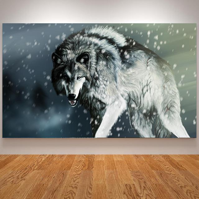 Growling Wolf In Snow