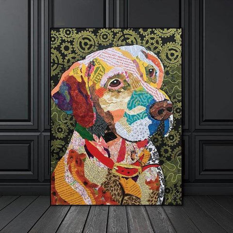 Image of Colorful Torn Paper Dog Portrait
