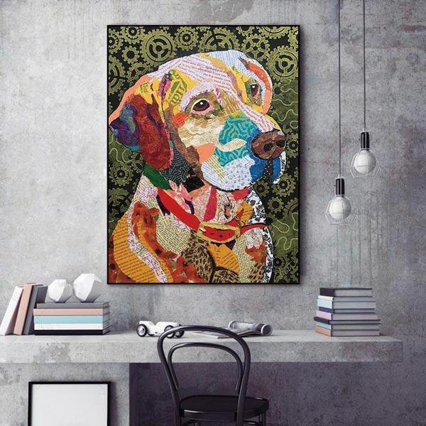Colorful Torn Paper Dog Portrait