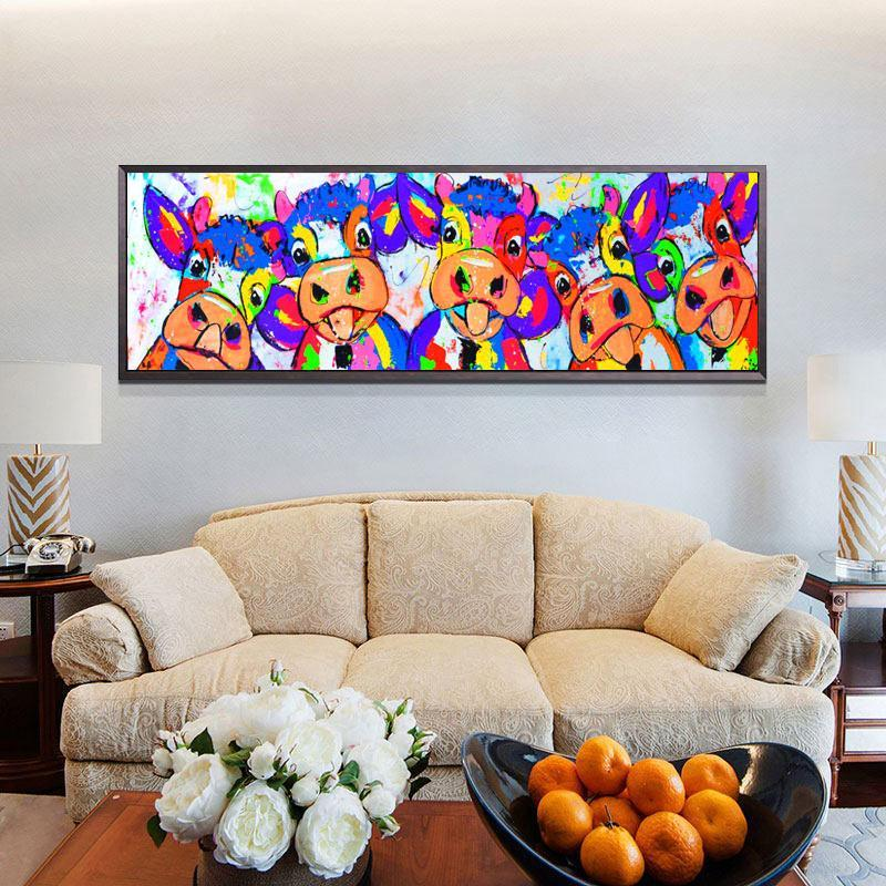 Colorful Five Cows Graffiti Oil Painting And Prints