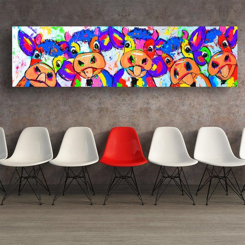 Image of Colorful Five Cows Graffiti Oil Painting And Prints