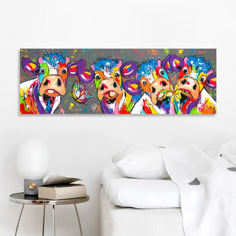 Image of Colorful Four Cows Graffiti Oil Painting And Prints