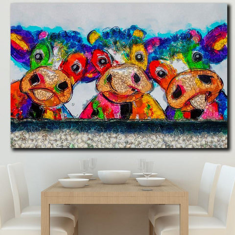 Image of Colorful Cow Wall Art Decoration