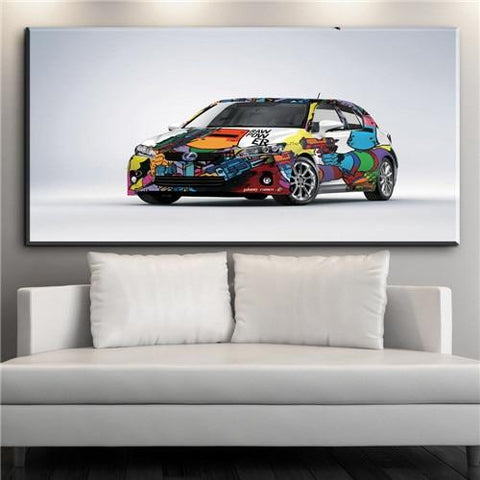 Color Painted Car Wall Art