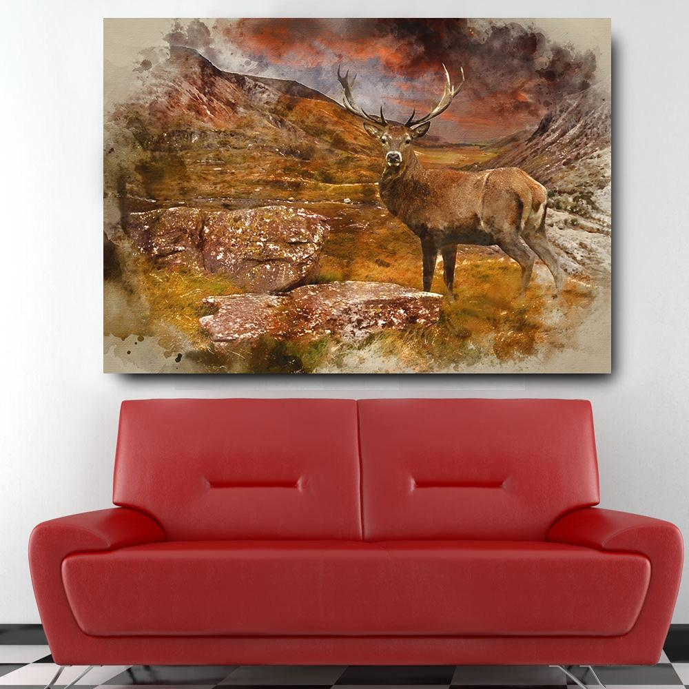 Large Red Deer Stag Wall Art