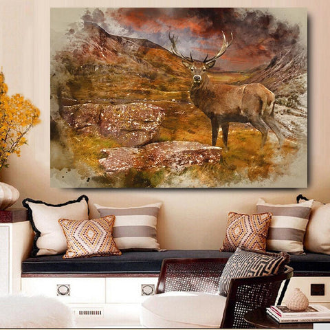 Image of Large Red Deer Stag Wall Art