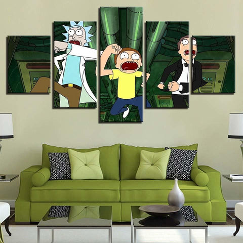 Running Rick And Morty Canvas Wall Art