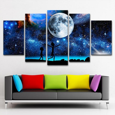 Rick And Morty Blue Universe Space Canvas Wall Art