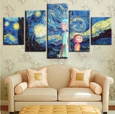 Rick and Morty Starry Sky Canvas Wall Art