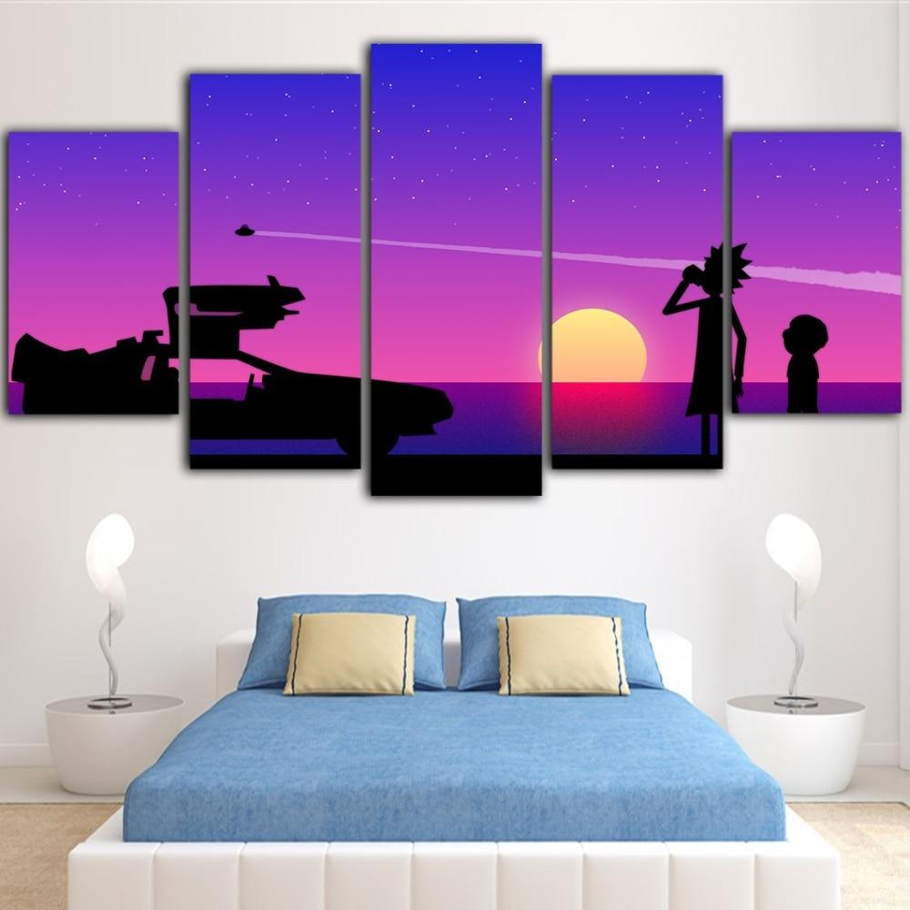 Rick And Morty Lavander Sunset Canvas Wall Art