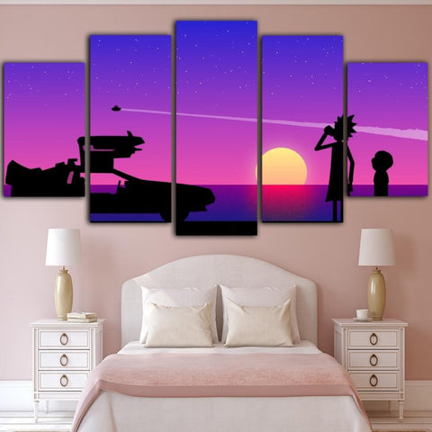 Image of Rick And Morty Lavander Sunset Canvas Wall Art