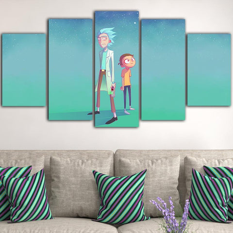 Standing Rick And Morty Canvas Wall Art